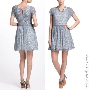 Anthropologie/ Weston Wear Blue Frothed Dots Dress
